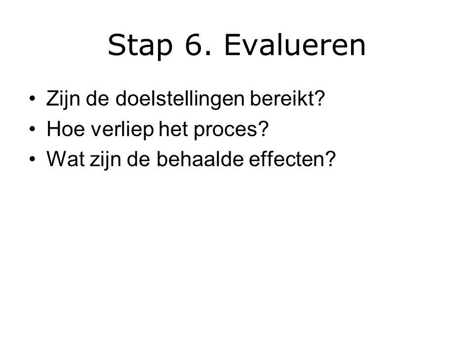 Stap 6.Evalueren Zijn de doelstellingen bereikt. Hoe verliep het proces.