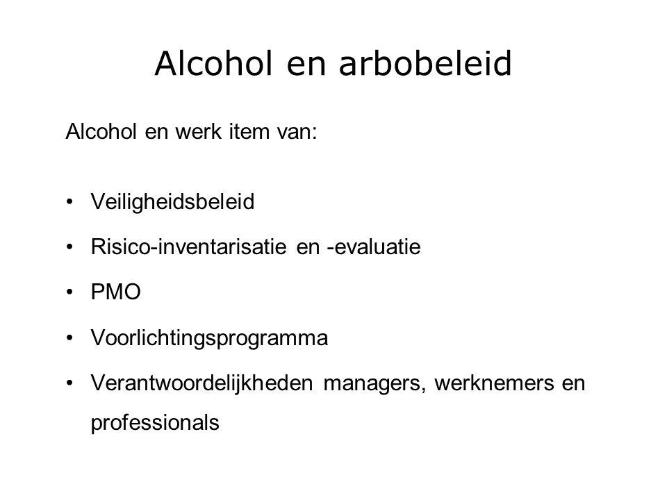 Alcohol en arbobeleid Alcohol en werk item van: Veiligheidsbeleid Risico-inventarisatie en -evaluatie PMO Voorlichtingsprogramma Verantwoordelijkheden managers, werknemers en professionals