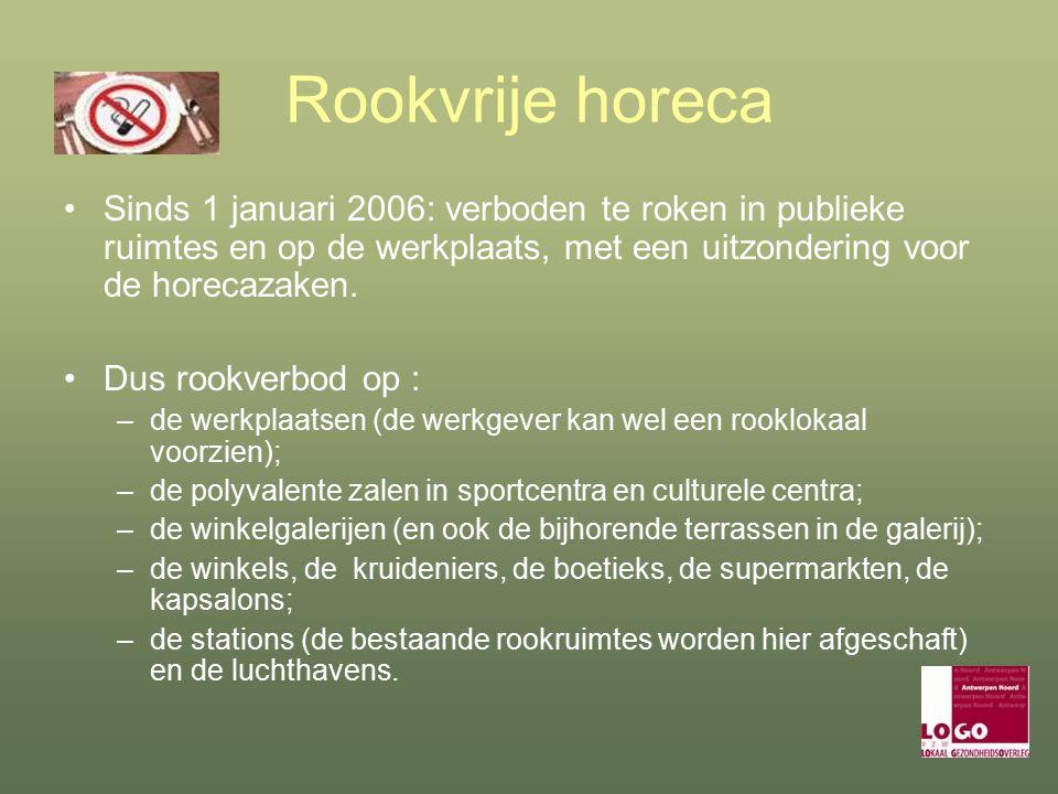 Rookvrije horeca Sinds 1 januari 2006: verboden te roken in publieke ruimtes en op de werkplaats, met een uitzondering voor de horecazaken.