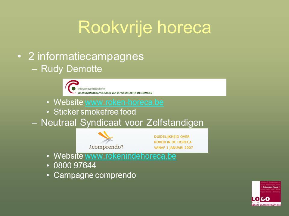 Rookvrije horeca 2 informatiecampagnes –Rudy Demotte Website www.roken-horeca.bewww.roken-horeca.be Sticker smokefree food –Neutraal Syndicaat voor Zelfstandigen Website www.rokenindehoreca.bewww.rokenindehoreca.be 0800 97644 Campagne comprendo