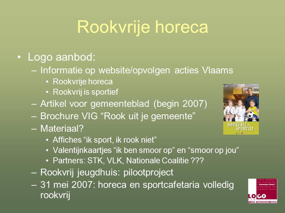 Rookvrije horeca Logo aanbod: –Informatie op website/opvolgen acties Vlaams Rookvrije horeca Rookvrij is sportief –Artikel voor gemeenteblad (begin 2007) –Brochure VIG Rook uit je gemeente –Materiaal.