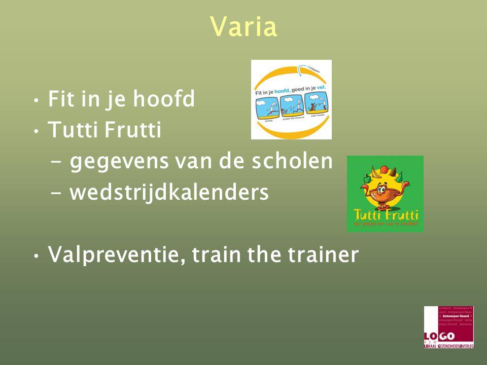 Varia Fit in je hoofd Tutti Frutti - gegevens van de scholen - wedstrijdkalenders Valpreventie, train the trainer