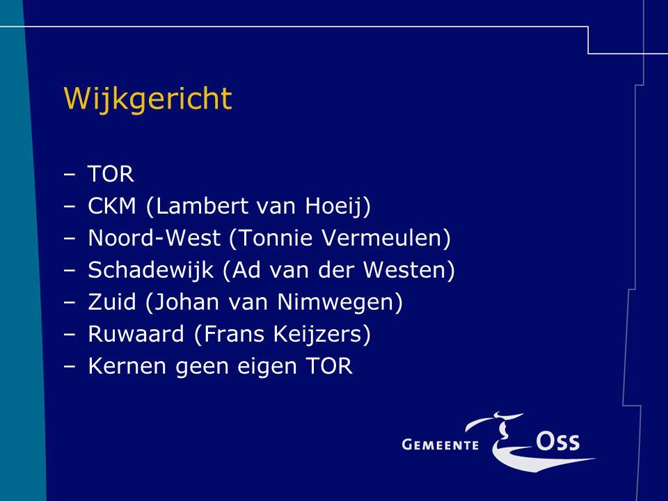 Wijkgericht –TOR –CKM (Lambert van Hoeij) –Noord-West (Tonnie Vermeulen) –Schadewijk (Ad van der Westen) –Zuid (Johan van Nimwegen) –Ruwaard (Frans Keijzers) –Kernen geen eigen TOR