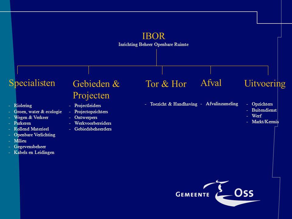 IBOR Inrichting Beheer Openbare Ruimte Specialisten Tor & Hor Gebieden & Projecten -Riolering -Groen, water & ecologie -Wegen & Verkeer -Parkeren -Rollend Materieel -Openbare Verlichting -Milieu -Gegevensbeheer -Kabels en Leidingen -Projectleiders -Projectopzichters -Ontwerpers -Werkvoorbereiders -Gebiedsbeheerders -Opzichters -Buitendienst -Werf -Markt/Kermis Uitvoering -Toezicht & Handhaving Afval -Afvalinzameling
