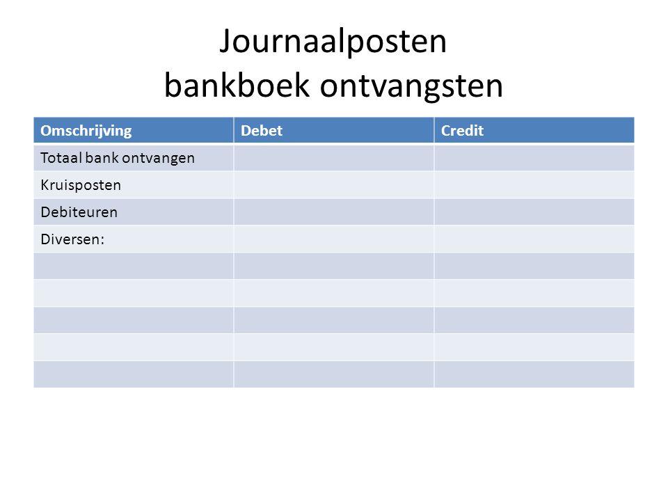Journaalposten bankboek ontvangsten OmschrijvingDebetCredit Totaal bank ontvangen Kruisposten Debiteuren Diversen:
