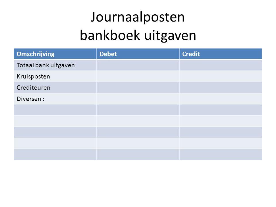 Journaalposten bankboek uitgaven OmschrijvingDebetCredit Totaal bank uitgaven Kruisposten Crediteuren Diversen :