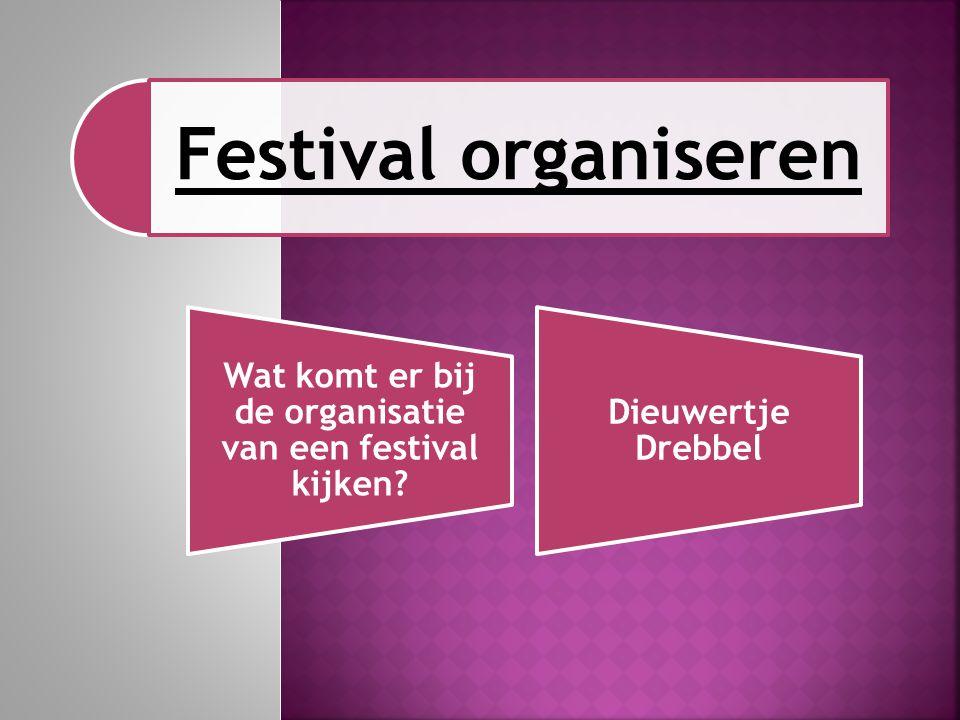 Festival organiseren Wat komt er bij de organisatie van een festival kijken? Dieuwertje Drebbel