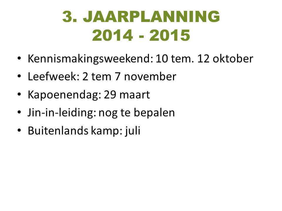 3. JAARPLANNING 2014 - 2015 Kennismakingsweekend: 10 tem. 12 oktober Leefweek: 2 tem 7 november Kapoenendag: 29 maart Jin-in-leiding: nog te bepalen B