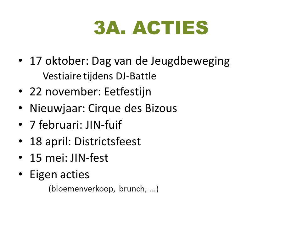 3A. ACTIES 17 oktober: Dag van de Jeugdbeweging Vestiaire tijdens DJ-Battle 22 november: Eetfestijn Nieuwjaar: Cirque des Bizous 7 februari: JIN-fuif