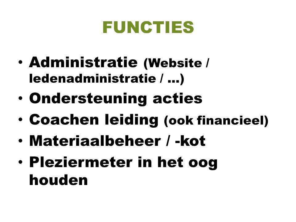 FUNCTIES Administratie (Website / ledenadministratie / …) Ondersteuning acties Coachen leiding (ook financieel) Materiaalbeheer / -kot Pleziermeter in het oog houden