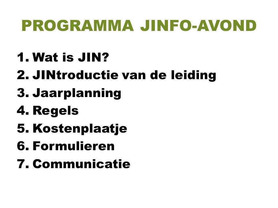 PROGRAMMA JINFO-AVOND 1.Wat is JIN? 2.JINtroductie van de leiding 3.Jaarplanning 4.Regels 5.Kostenplaatje 6.Formulieren 7.Communicatie