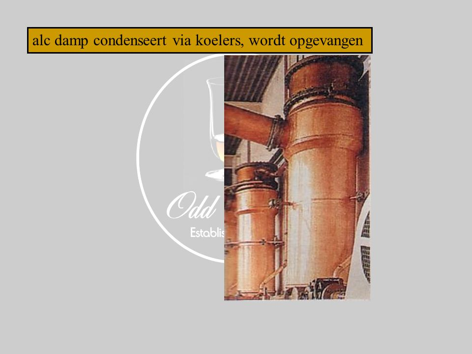 alc damp condenseert via koelers, wordt opgevangen