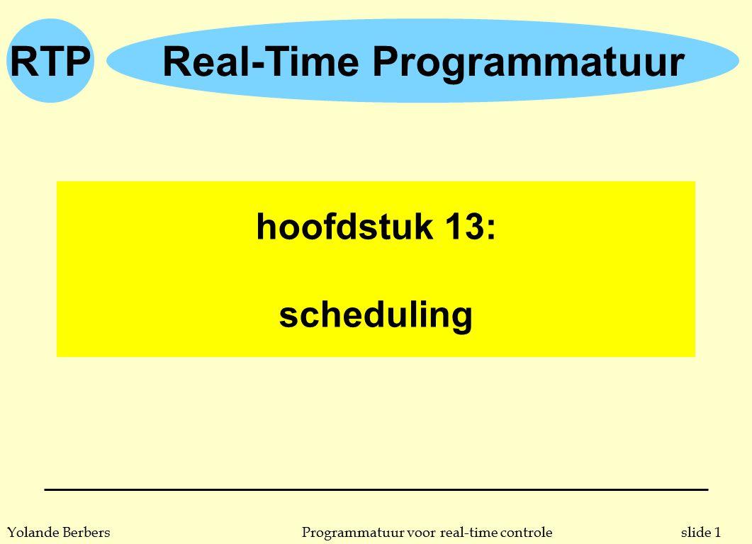 RTP slide 12Programmatuur voor real-time controleYolande Berbers procesgebaseerde scheduling n voorbeeld (let op: hoe hoger de prioriteitswaarde, hoe groter de prioriteit) procesperiodeprioriteit A255 B603 C424 D1051 E752 n uitvoeringstijd speelt hier dus niet mee