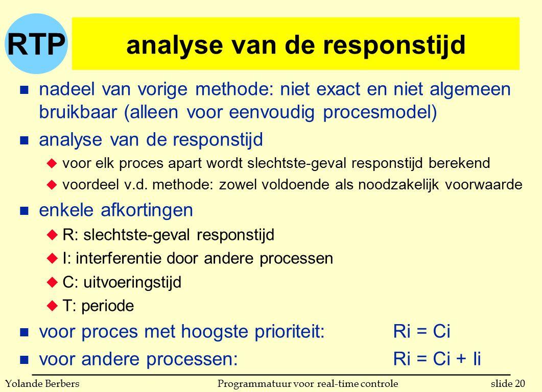 RTP slide 20Programmatuur voor real-time controleYolande Berbers analyse van de responstijd n nadeel van vorige methode: niet exact en niet algemeen b