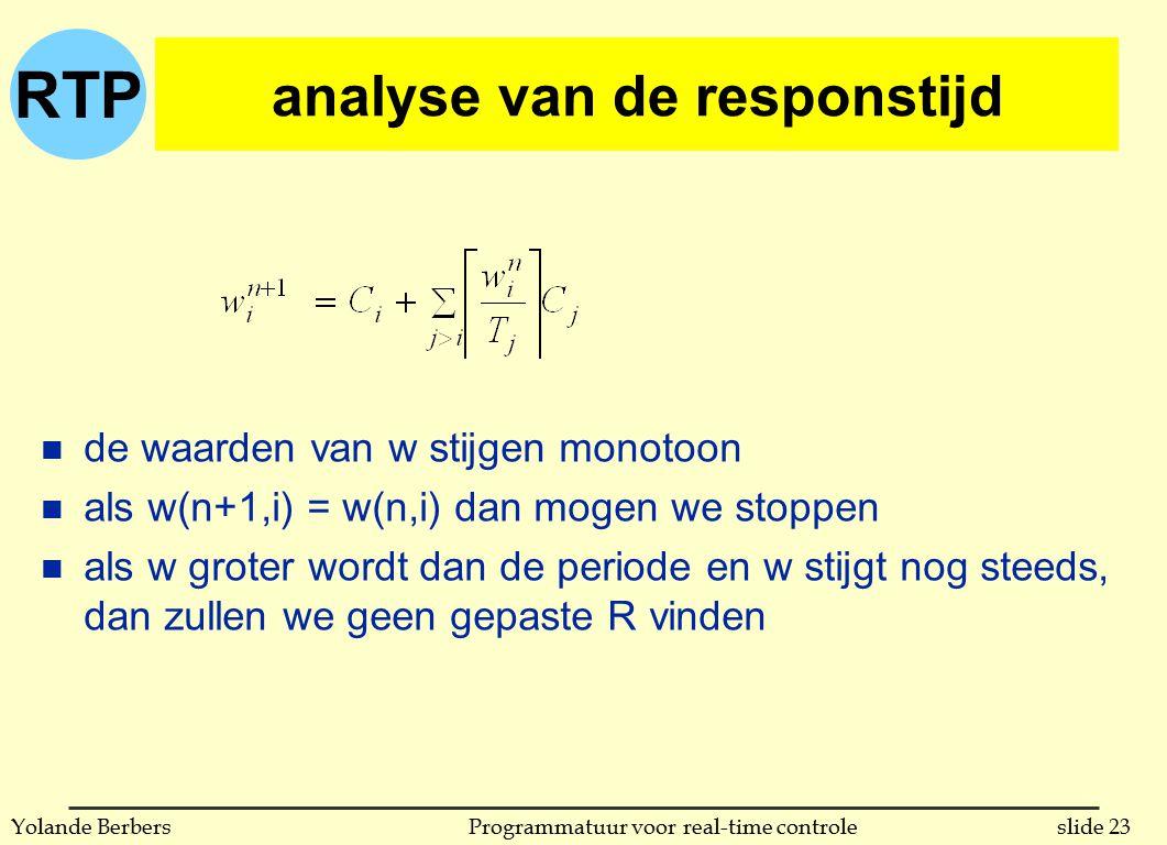 RTP slide 23Programmatuur voor real-time controleYolande Berbers analyse van de responstijd n de waarden van w stijgen monotoon n als w(n+1,i) = w(n,i) dan mogen we stoppen n als w groter wordt dan de periode en w stijgt nog steeds, dan zullen we geen gepaste R vinden