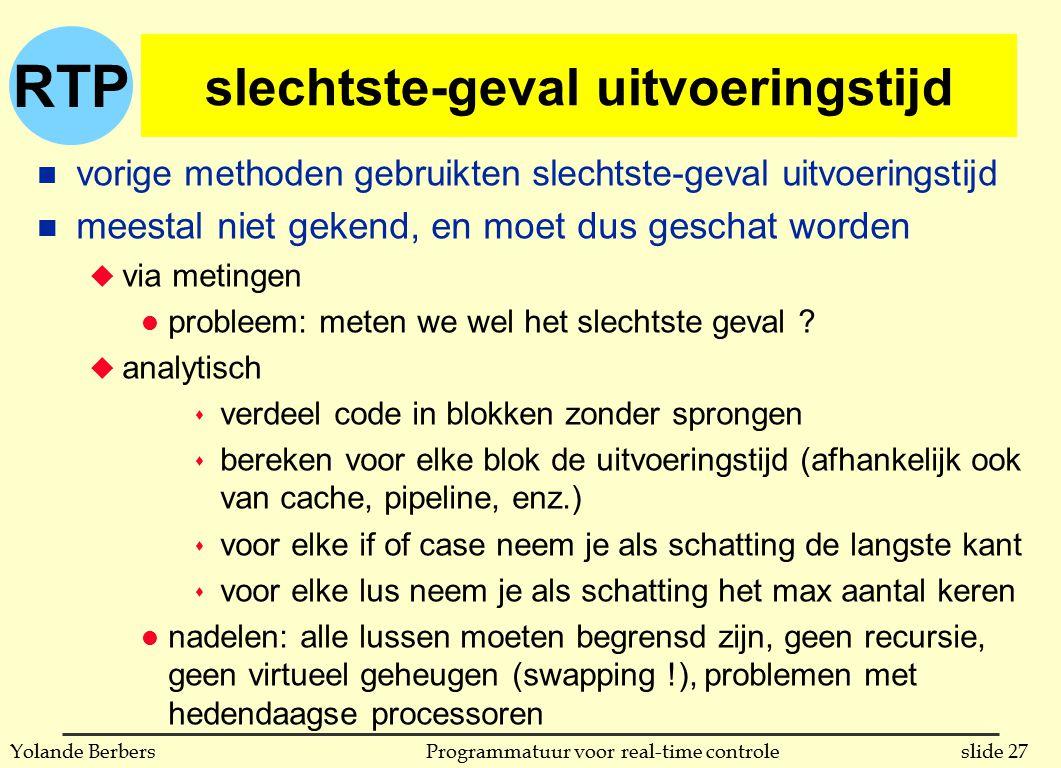 RTP slide 27Programmatuur voor real-time controleYolande Berbers slechtste-geval uitvoeringstijd n vorige methoden gebruikten slechtste-geval uitvoeri