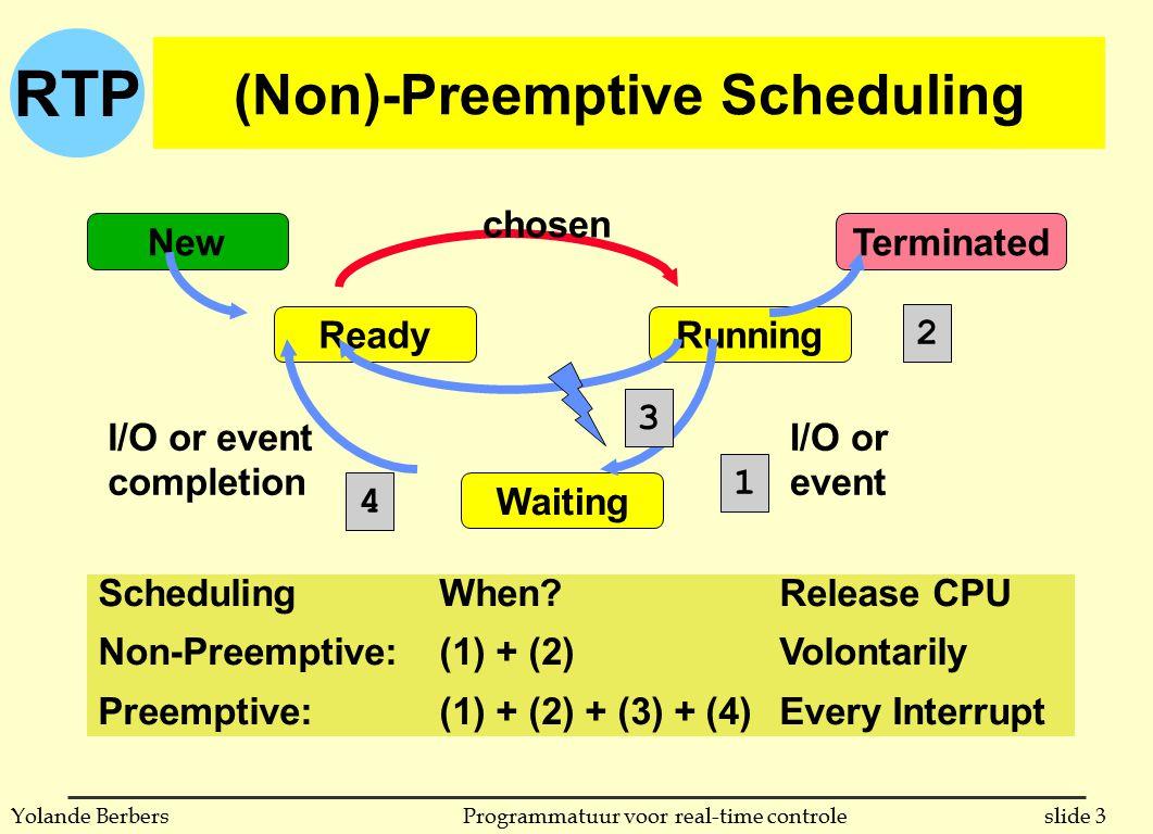 RTP slide 14Programmatuur voor real-time controleYolande Berbers test van scheduleerbaarheid n gevolg: elke combinatie van processen die de processor minder dan 69.3% gebruiken is altijd volgens de RMPA methode scheduleer-baar n 3 vb (tijd in een of andere eenheid, van geen belang) u voorbeeld 1 periode uitvoeringstijdprioriteitprocessorgebruik T150 1210.24 T240 1020.25 T330 1030.33 u totaal gebruik: 0.82, is dus te hoog u ga je de uitvoering na, dan zie je dat het niet gaat u volgende slides: tijdslijn en Gantt chart