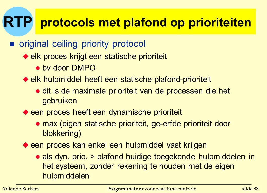 RTP slide 38Programmatuur voor real-time controleYolande Berbers protocols met plafond op prioriteiten n original ceiling priority protocol u elk proc
