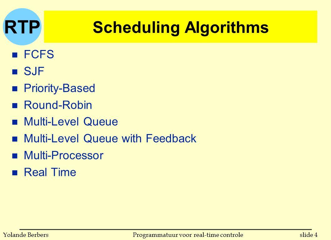 RTP slide 5Programmatuur voor real-time controleYolande Berbers inleiding n bij 5 verschillende onafhankelijke taken: u 120 mogelijke volgordes als niet onderbroken u oneindig meer indien processen onderbroken kunnen worden n scheduling: bepaalt de volgorde van uitvoeren u kan statisch gebeuren (volgorde ligt vast voor de uitvoering) u kan dynamisch gebeuren (volgorde bepaald tijdens uitvoering) u bij interactieve systemen: altijd dynamisch u real-time systemen l meestal statisch, omdat taken en deadlines van te voren bekend zijn (dit zullen we hier behandelen) l in zeer complexe systemen is dat dynamisch (als van te voren niet alles gekend is)