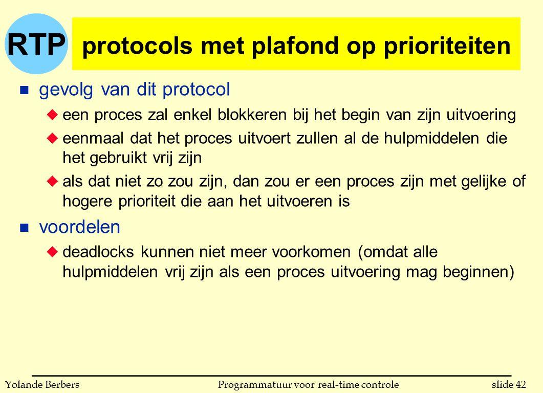RTP slide 42Programmatuur voor real-time controleYolande Berbers protocols met plafond op prioriteiten n gevolg van dit protocol u een proces zal enke