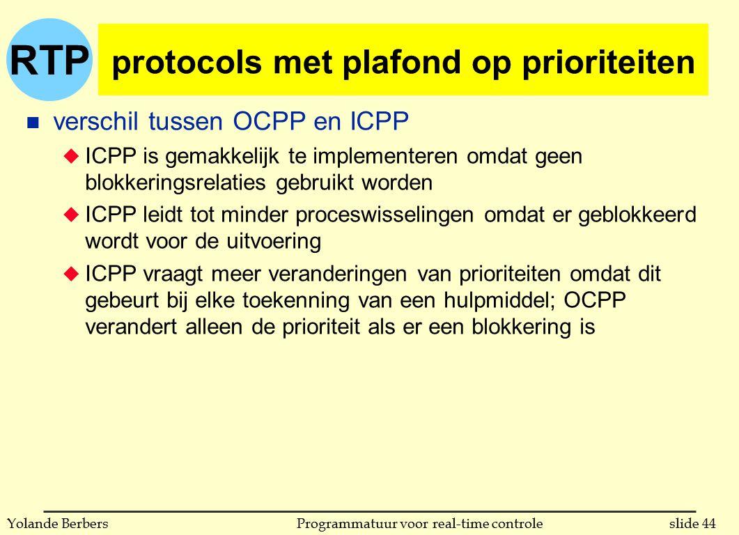 RTP slide 44Programmatuur voor real-time controleYolande Berbers protocols met plafond op prioriteiten n verschil tussen OCPP en ICPP u ICPP is gemakk