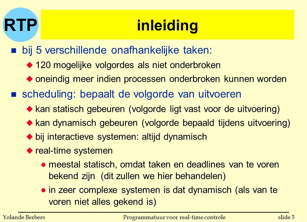 RTP slide 5Programmatuur voor real-time controleYolande Berbers inleiding n bij 5 verschillende onafhankelijke taken: u 120 mogelijke volgordes als ni