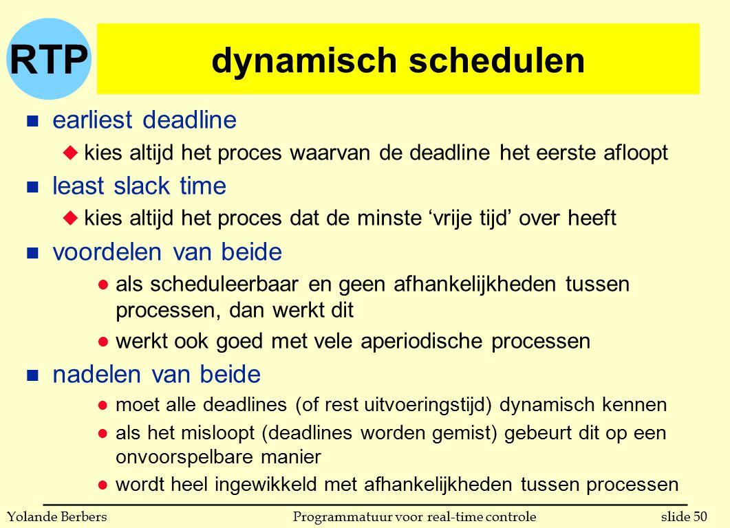 RTP slide 50Programmatuur voor real-time controleYolande Berbers dynamisch schedulen n earliest deadline u kies altijd het proces waarvan de deadline het eerste afloopt n least slack time u kies altijd het proces dat de minste 'vrije tijd' over heeft n voordelen van beide l als scheduleerbaar en geen afhankelijkheden tussen processen, dan werkt dit l werkt ook goed met vele aperiodische processen n nadelen van beide l moet alle deadlines (of rest uitvoeringstijd) dynamisch kennen l als het misloopt (deadlines worden gemist) gebeurt dit op een onvoorspelbare manier l wordt heel ingewikkeld met afhankelijkheden tussen processen