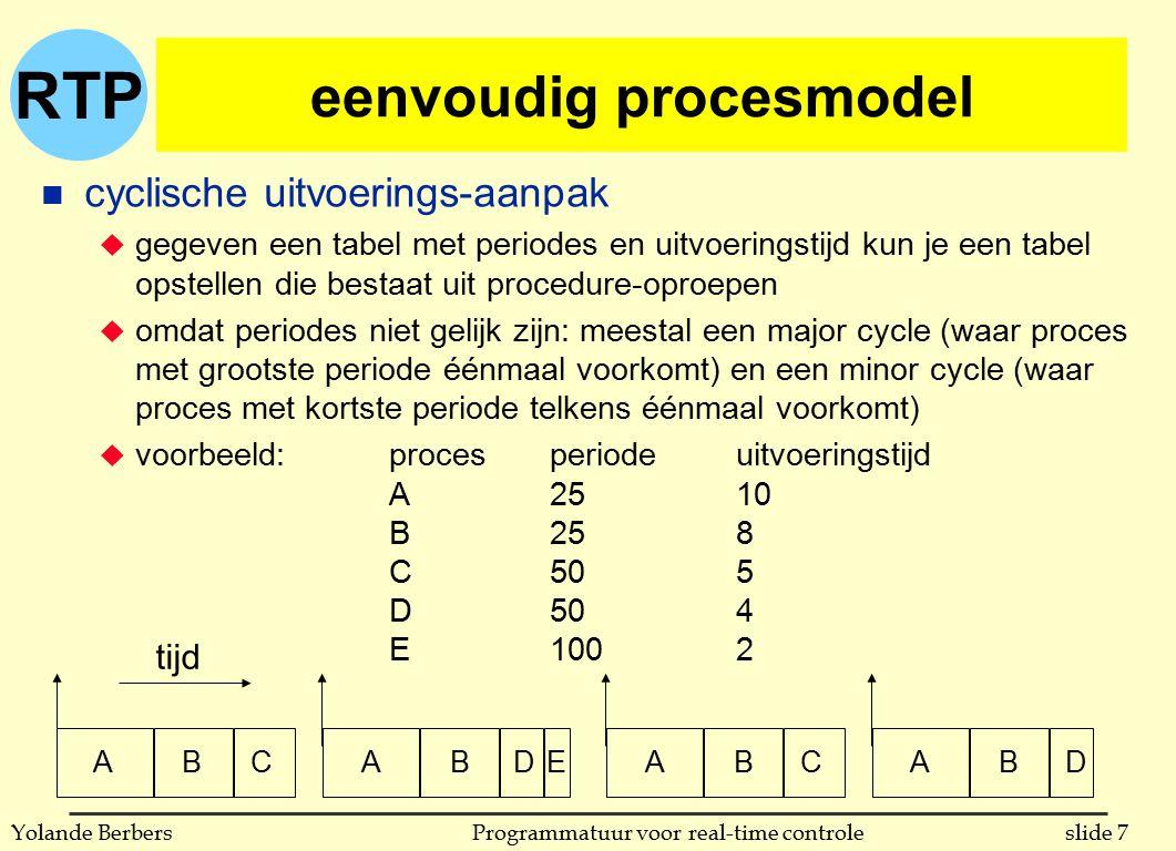 RTP slide 48Programmatuur voor real-time controleYolande Berbers ondersteuning door talen en systemen n POSIX l ondersteunt scheduling gebaseerd op prioriteiten l heeft opties om prioriteitserving en plafondprotocol te gebruiken l prioriteiten kunnen dynamisch aangepast worden n drie basisalgoritmen u FIFO l een proces loopt totdat het eindigt of blokkeert l wordt het onderbroken door een proces met hogere prioriteit dan wordt het teruggeplaatst vooraan in rij van zijn prioriteit u round-robin l idem maar kan ook onderbreken als tijdskwantum verloopt; dan wordt het teruggeplaatst achteraan in rij van zijn prioriteit u ander door implementatie bepaald