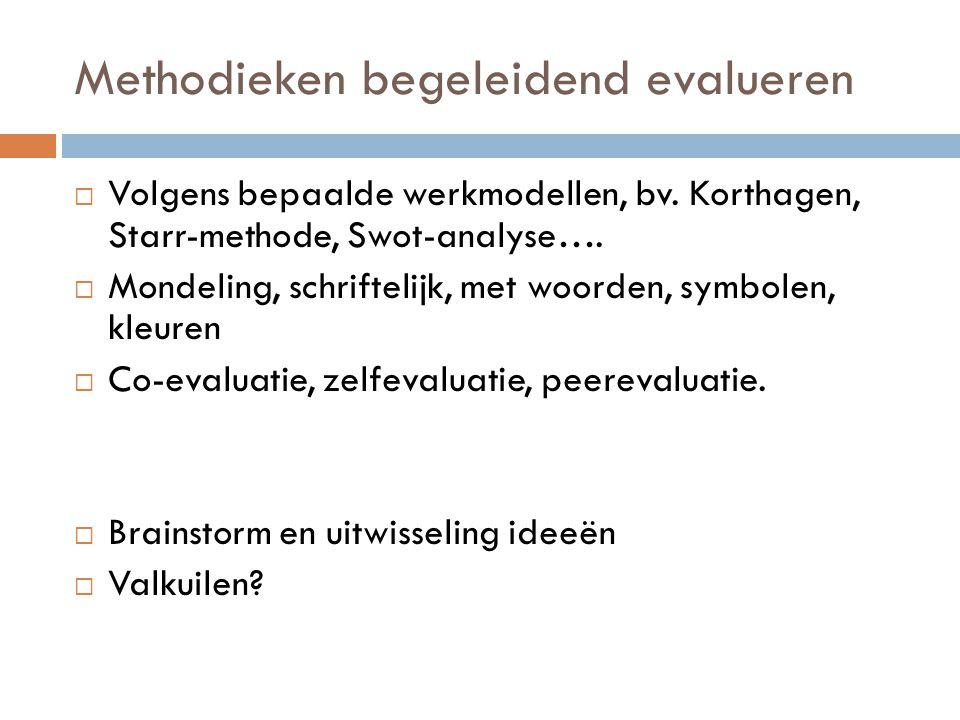 Methodieken begeleidend evalueren  Volgens bepaalde werkmodellen, bv. Korthagen, Starr-methode, Swot-analyse….  Mondeling, schriftelijk, met woorden