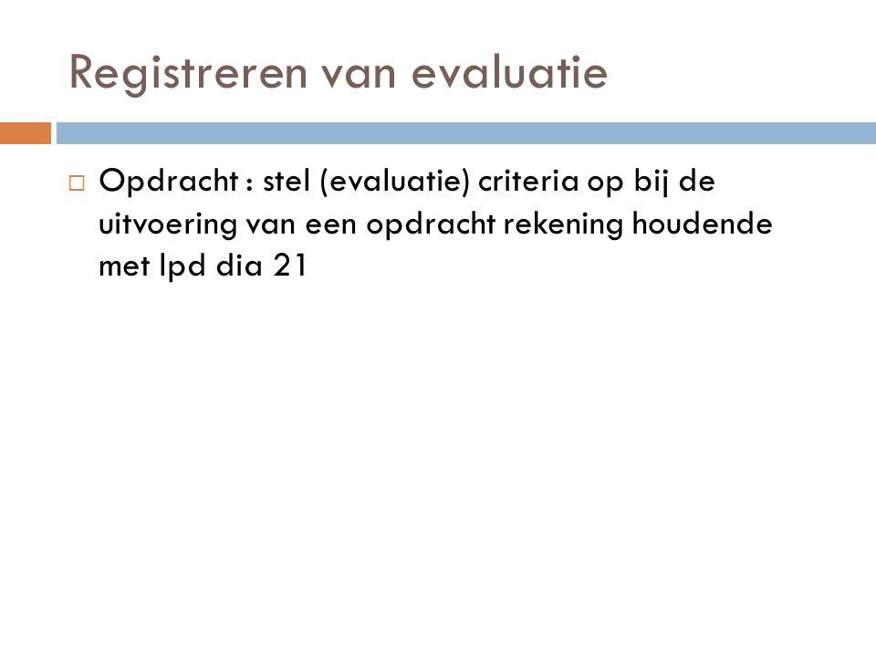 Registreren van evaluatie  Opdracht : stel (evaluatie) criteria op bij de uitvoering van een opdracht rekening houdende met lpd dia 21