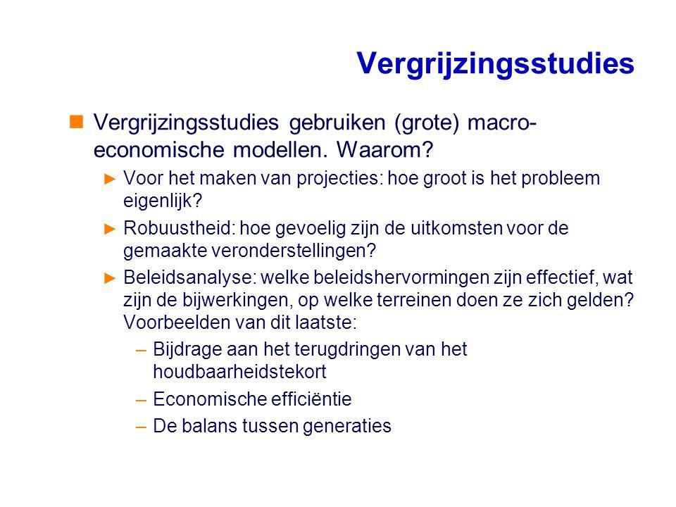Vergrijzingsstudies Vergrijzingsstudies gebruiken (grote) macro- economische modellen. Waarom? ► Voor het maken van projecties: hoe groot is het probl