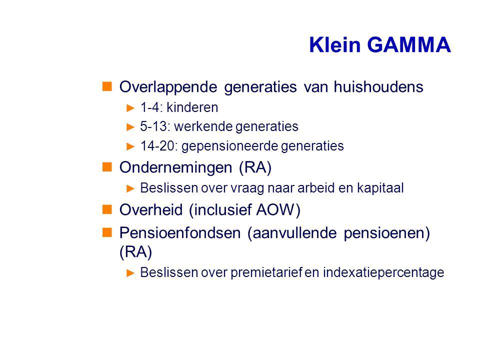 Klein GAMMA Overlappende generaties van huishoudens ► 1-4: kinderen ► 5-13: werkende generaties ► 14-20: gepensioneerde generaties Ondernemingen (RA)