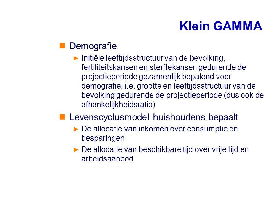 Klein GAMMA Demografie ► Initiële leeftijdsstructuur van de bevolking, fertiliteitskansen en sterftekansen gedurende de projectieperiode gezamenlijk b