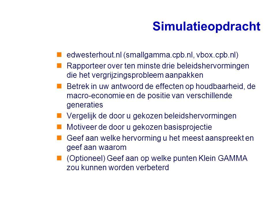 Simulatieopdracht edwesterhout.nl (smallgamma.cpb.nl, vbox.cpb.nl) Rapporteer over ten minste drie beleidshervormingen die het vergrijzingsprobleem aa