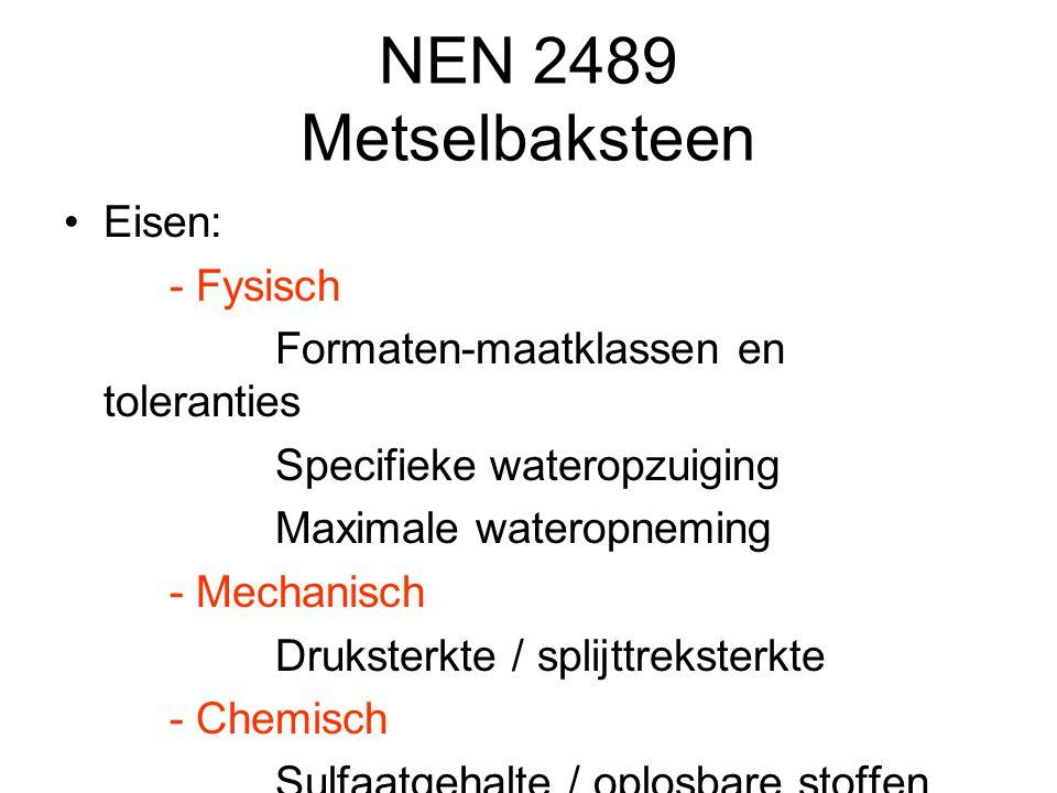 Fysische eigenschappen Vocht - Capillariteit - Hygroscopiciteit - Dampdoorlatendheid - Regendichtheid - Waterdichtheid - Vorstdichtheid Geluid - Isoleren - Absorberen / reflecteren Warmte - Geleiden / isoleren -Accumuleren