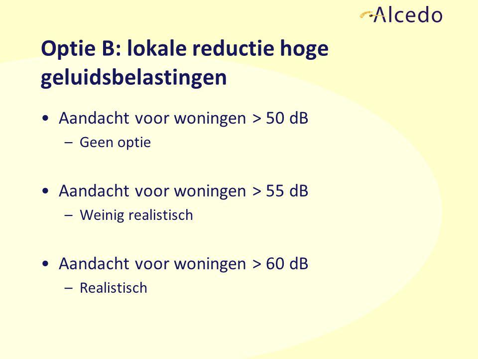 Optie B: lokale reductie hoge geluidsbelastingen Aandacht voor woningen > 50 dB –Geen optie Aandacht voor woningen > 55 dB –Weinig realistisch Aandacht voor woningen > 60 dB –Realistisch