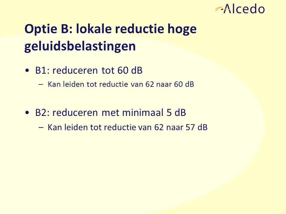 Optie B: lokale reductie hoge geluidsbelastingen B1: reduceren tot 60 dB –Kan leiden tot reductie van 62 naar 60 dB B2: reduceren met minimaal 5 dB –Kan leiden tot reductie van 62 naar 57 dB