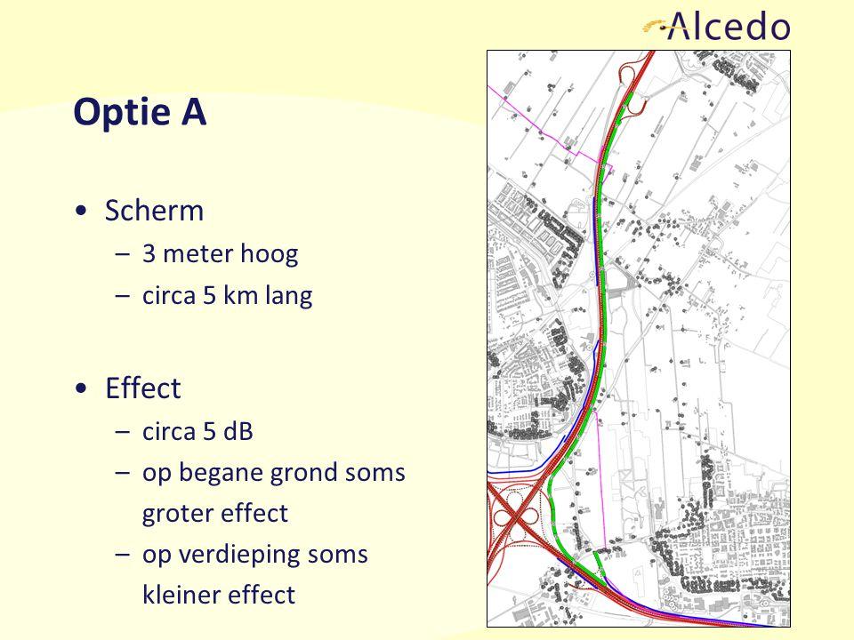 Optie A Scherm –3 meter hoog –circa 5 km lang Effect –circa 5 dB –op begane grond soms groter effect –op verdieping soms kleiner effect