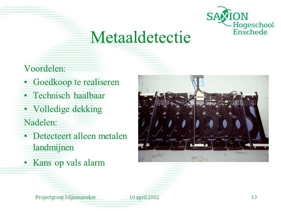 10 april 2002Projectgroep Mijnenzoeker13 Metaaldetectie Voordelen: Goedkoop te realiseren Technisch haalbaar Volledige dekking Nadelen: Detecteert alleen metalen landmijnen Kans op vals alarm
