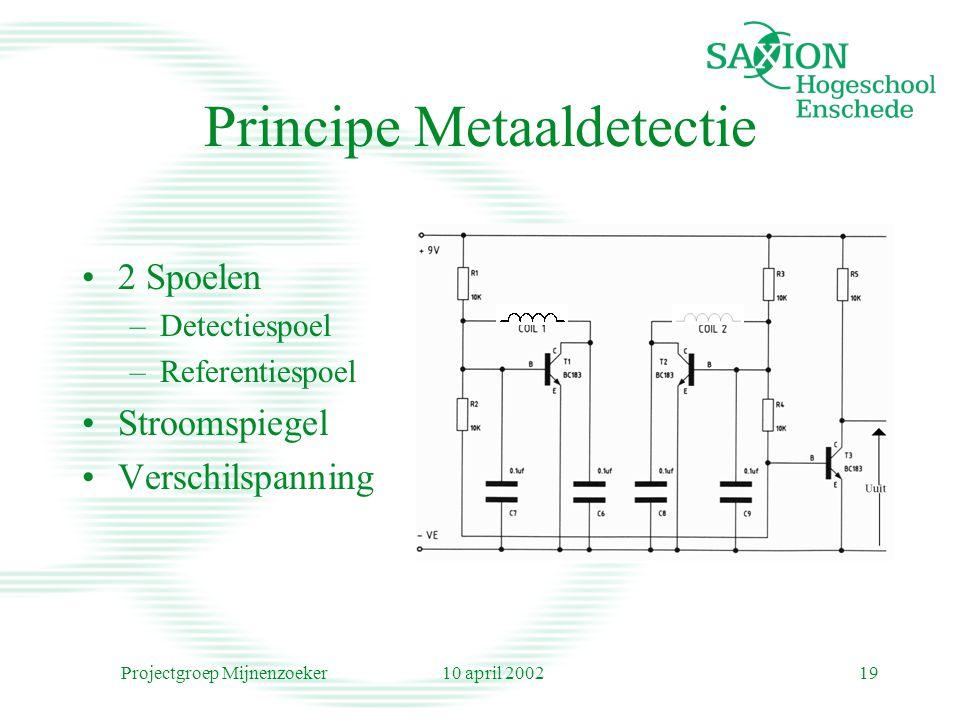 10 april 2002Projectgroep Mijnenzoeker19 Principe Metaaldetectie 2 Spoelen –Detectiespoel –Referentiespoel Stroomspiegel Verschilspanning