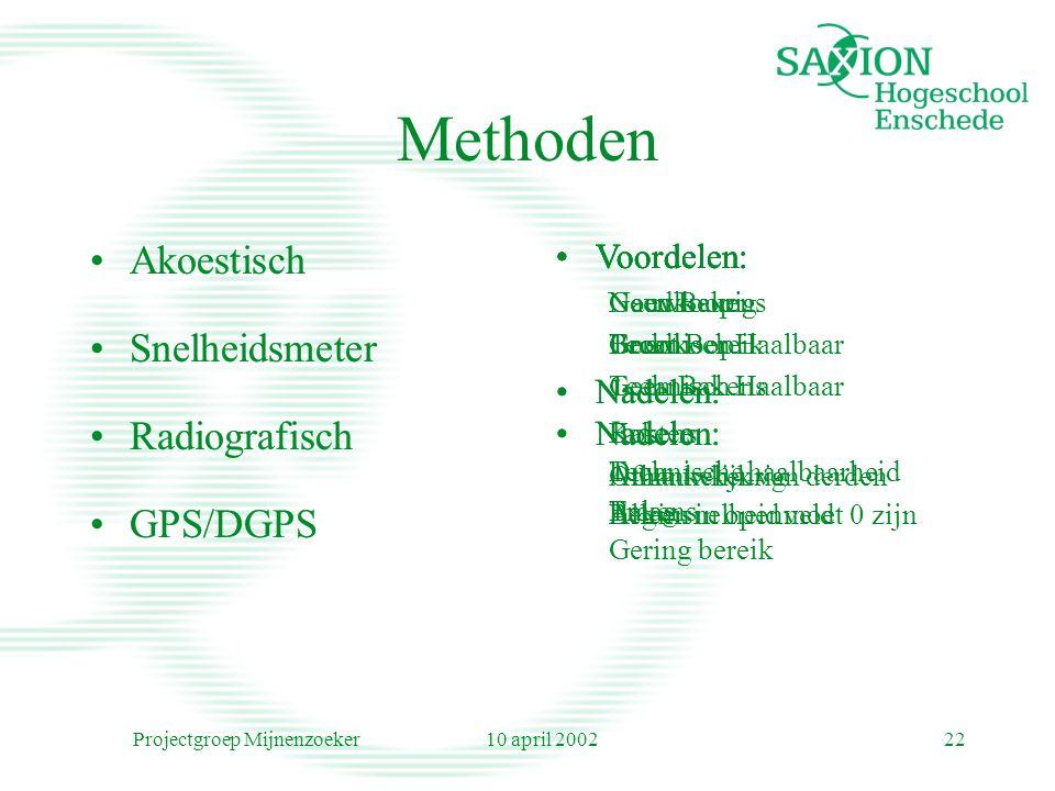 10 april 2002Projectgroep Mijnenzoeker22 Methoden Akoestisch Snelheidsmeter Radiografisch GPS/DGPS Voordelen: Nauwkeurig Technisch Haalbaar Nadelen: B
