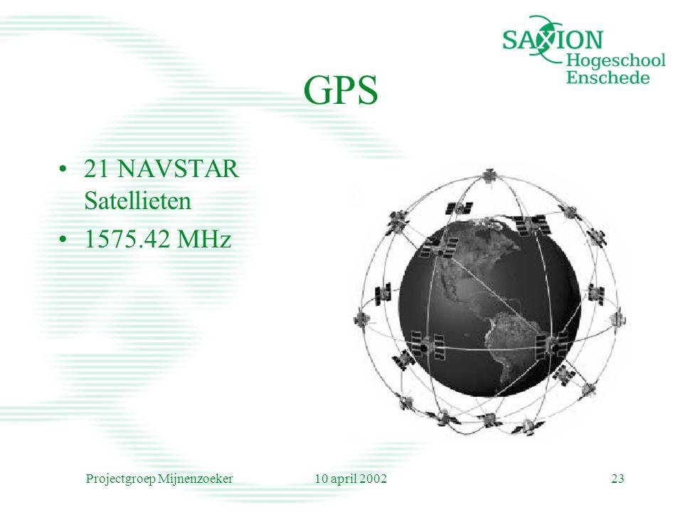 10 april 2002Projectgroep Mijnenzoeker23 GPS 21 NAVSTAR Satellieten 1575.42 MHz