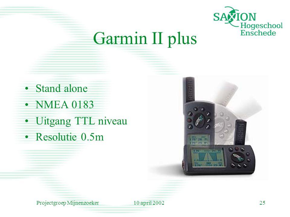 10 april 2002Projectgroep Mijnenzoeker25 Garmin II plus Stand alone NMEA 0183 Uitgang TTL niveau Resolutie 0.5m