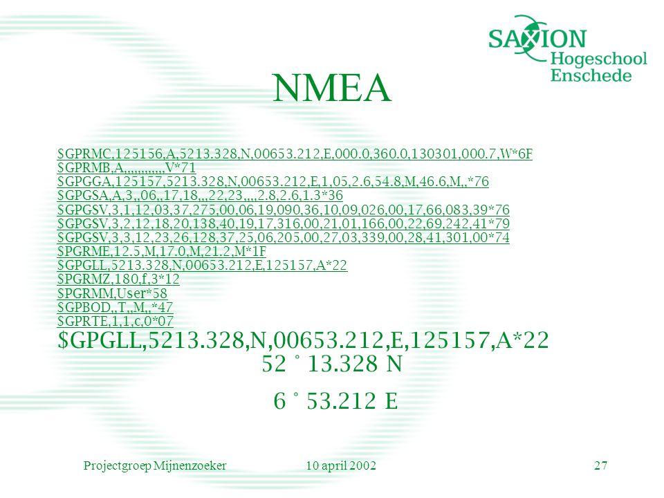 10 april 2002Projectgroep Mijnenzoeker27 NMEA $GPRMC,125156,A,5213.328,N,00653.212,E,000.0,360.0,130301,000.7,W*6F $GPRMB,A,,,,,,,,,,,,V*71 $GPGGA,125