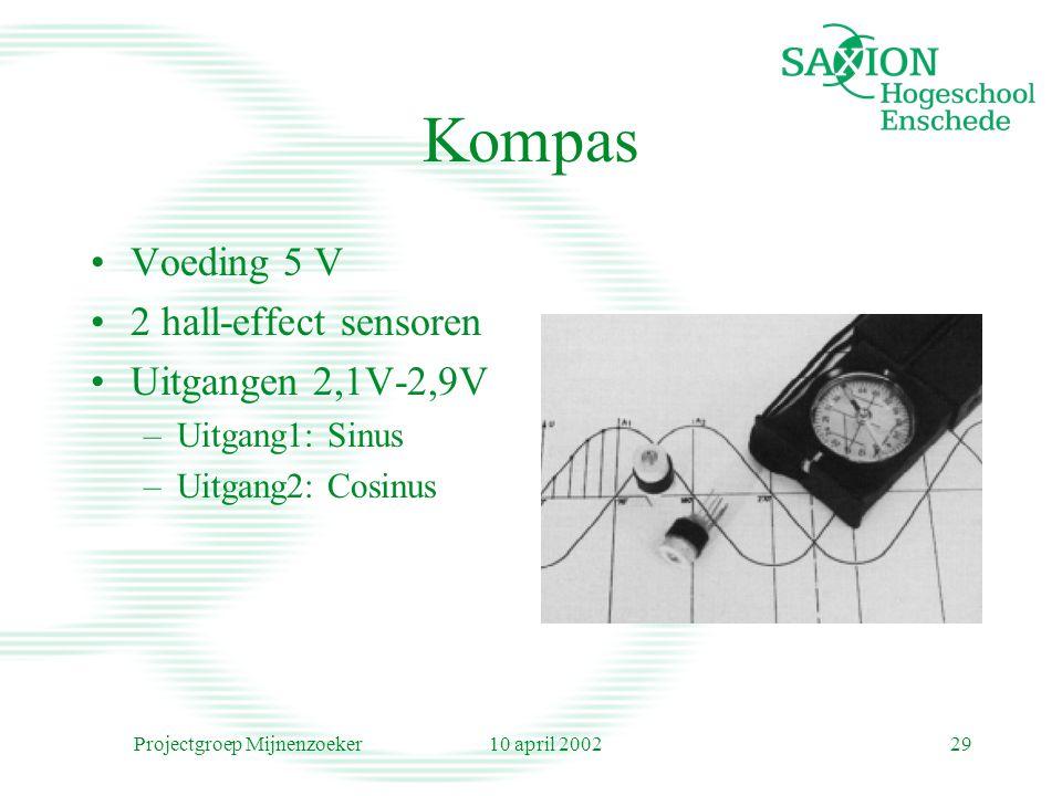 10 april 2002Projectgroep Mijnenzoeker29 Kompas Voeding 5 V 2 hall-effect sensoren Uitgangen 2,1V-2,9V –Uitgang1: Sinus –Uitgang2: Cosinus