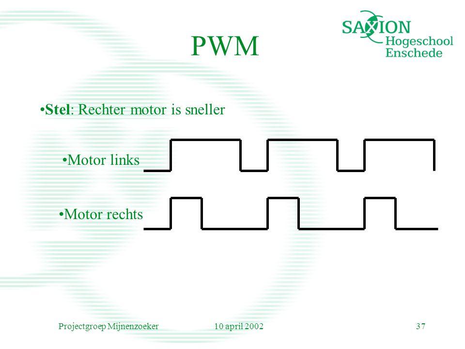 10 april 2002Projectgroep Mijnenzoeker37 Stel: Rechter motor is sneller Motor links Motor rechts PWM
