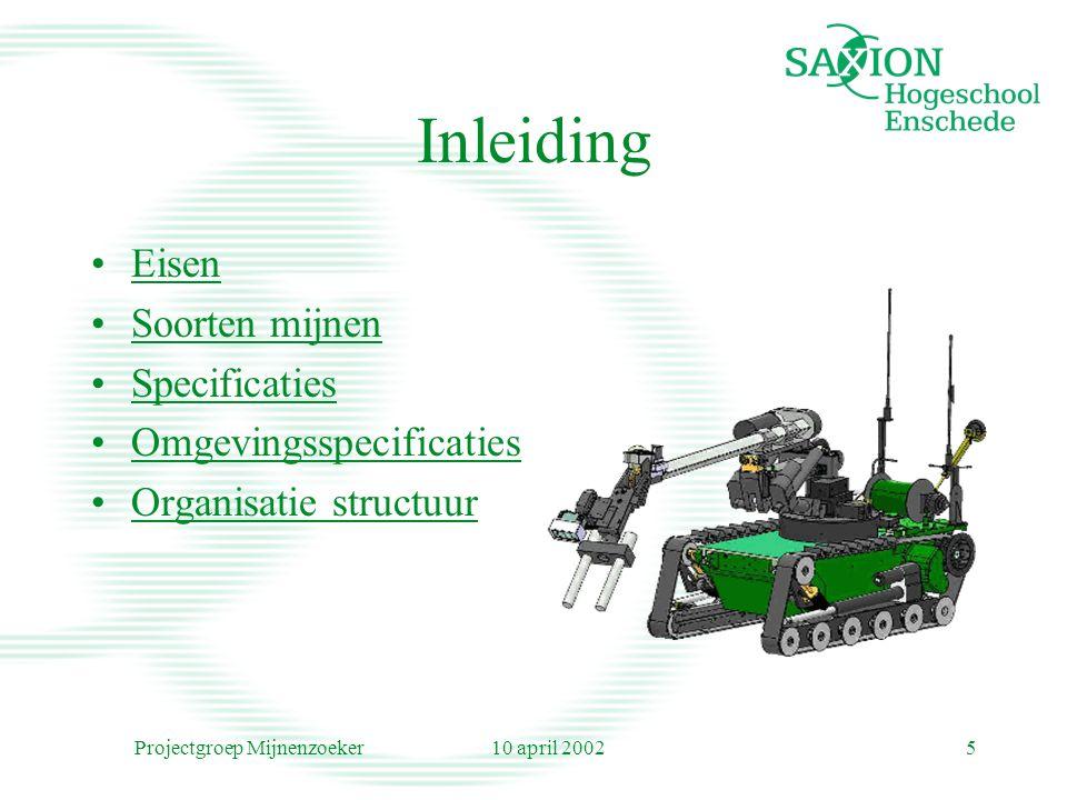 10 april 2002Projectgroep Mijnenzoeker5 Inleiding Eisen Soorten mijnen Specificaties Omgevingsspecificaties Organisatie structuur