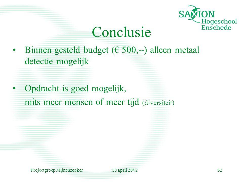 10 april 2002Projectgroep Mijnenzoeker62 Conclusie Binnen gesteld budget (€ 500,--) alleen metaal detectie mogelijk Opdracht is goed mogelijk, mits me