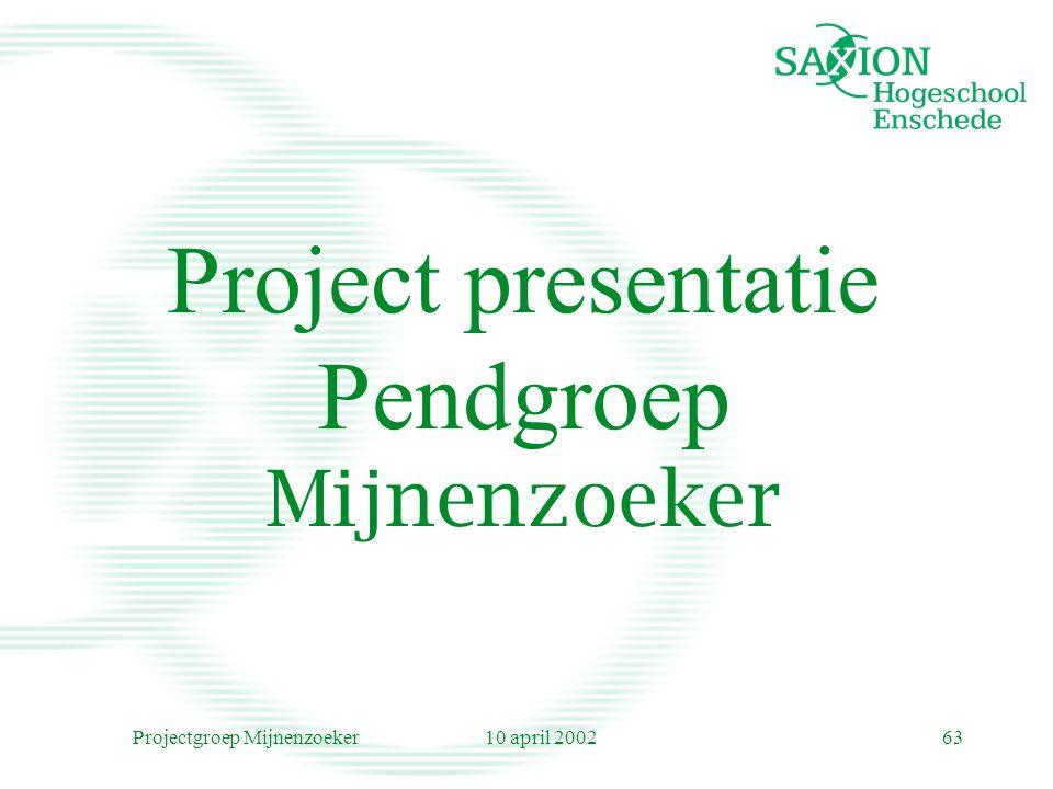 10 april 2002Projectgroep Mijnenzoeker63 Project presentatie Pendgroep Mijnenzoeker