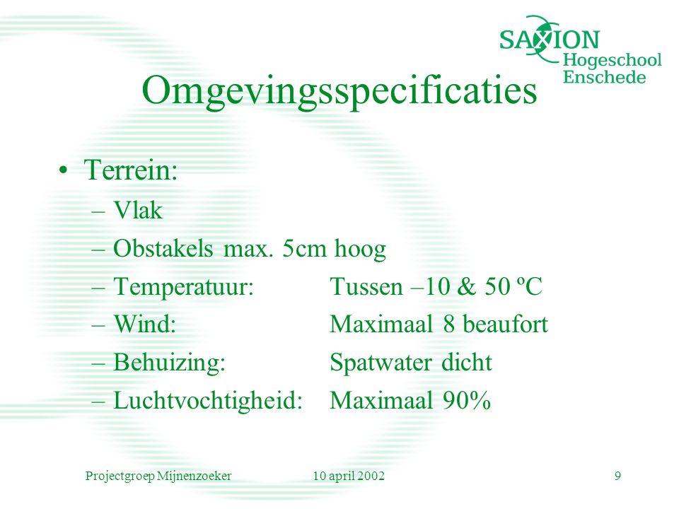 10 april 2002Projectgroep Mijnenzoeker9 Omgevingsspecificaties Terrein: –Vlak –Obstakels max. 5cm hoog –Temperatuur:Tussen –10 & 50 ºC –Wind:Maximaal